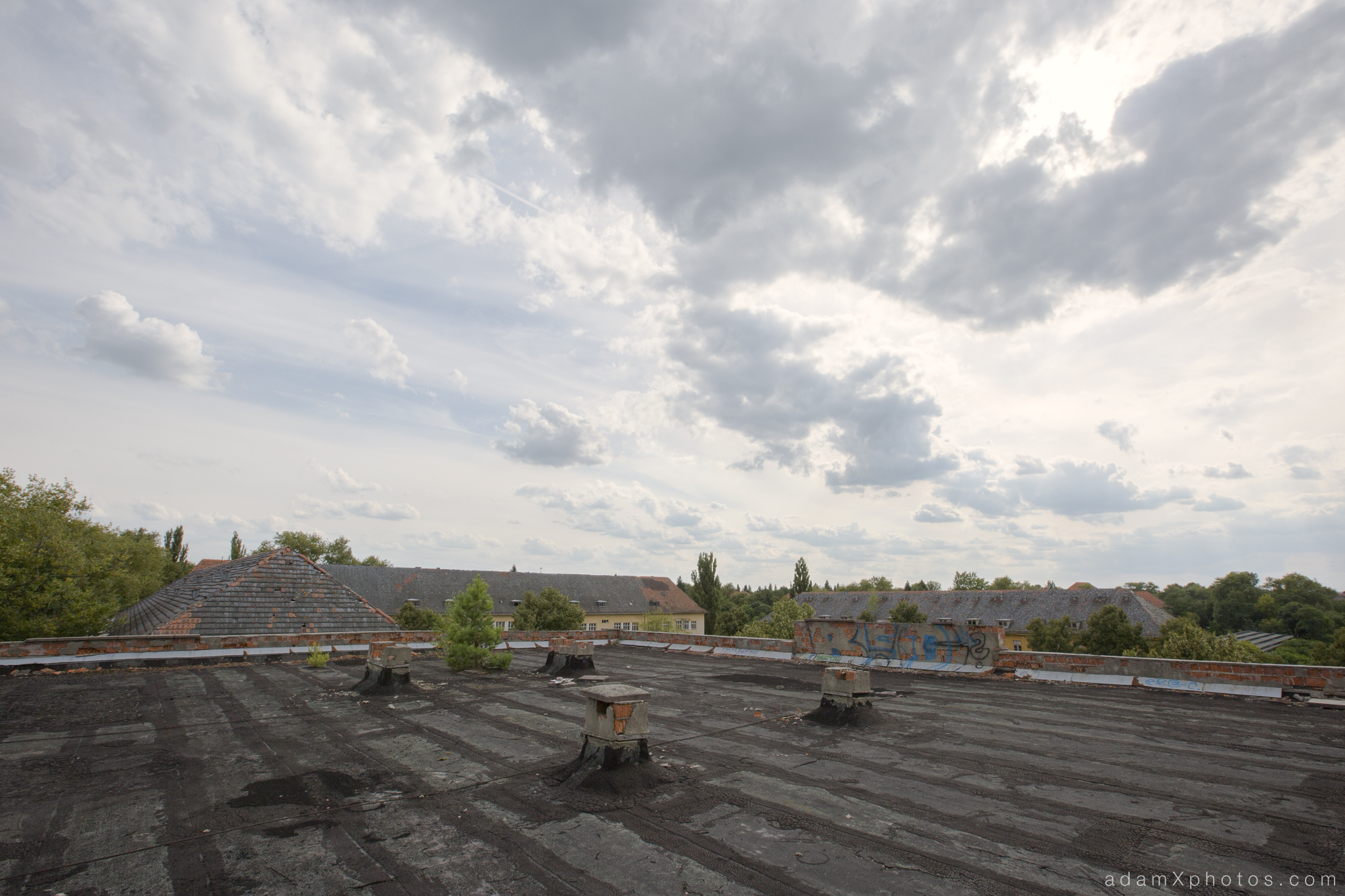 Adam X Urbex Urban Exploration Abandoned Germany Wunsdorf barracks roof view external