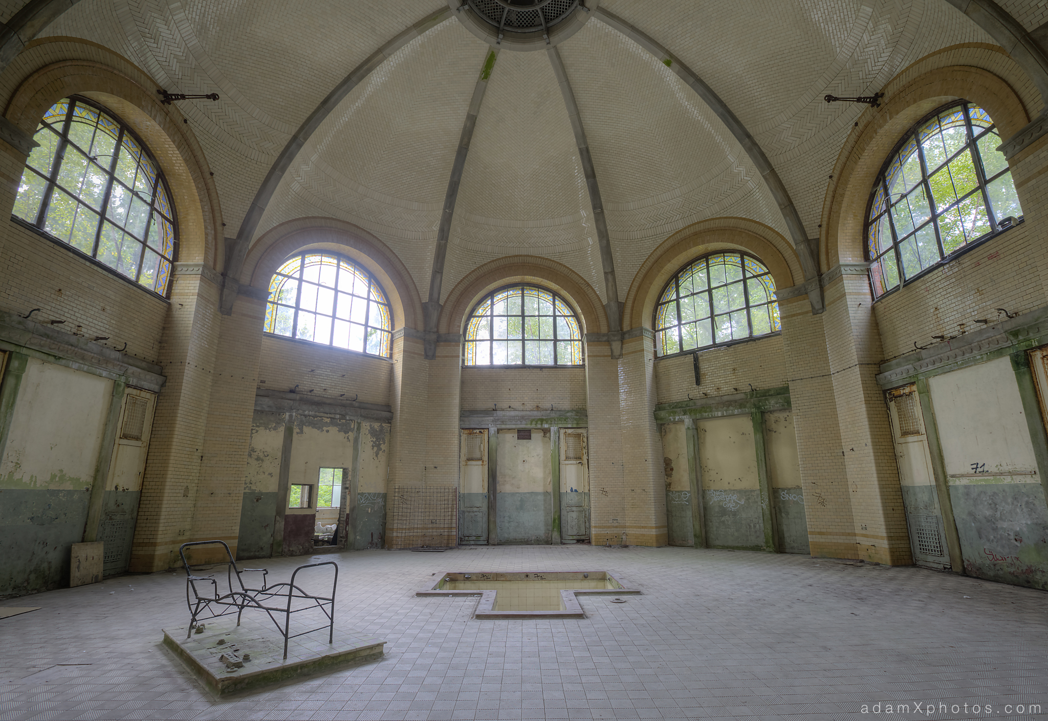Adam X Urbex Beelitz Heilstatten Germany Urban Exploration Mens Men's Bathhouse Bath House Hospital Decay Lost Abandoned Hidden tiles