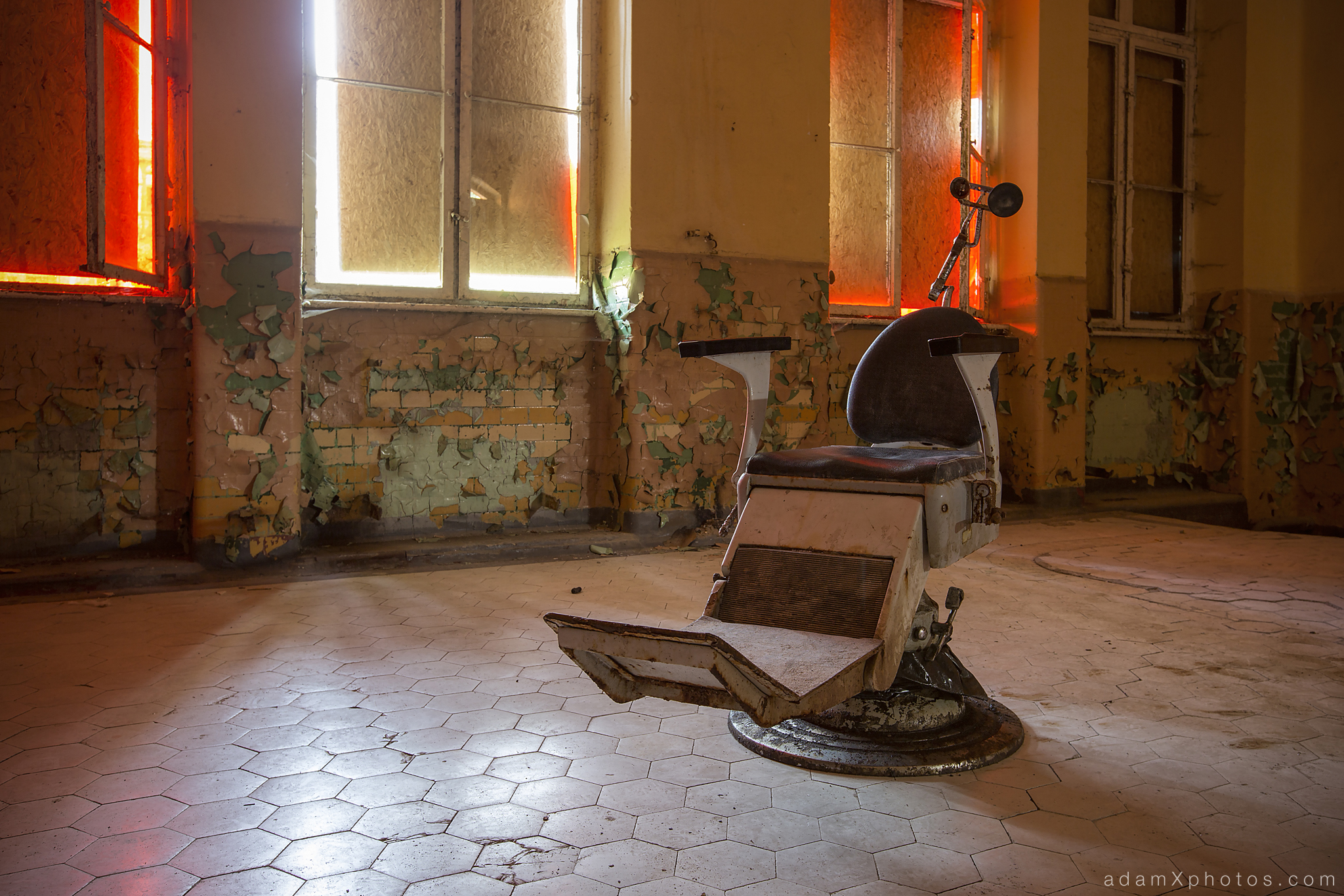 Adam X Urbex Beelitz Heilstatten Germany Urban Exploration Mens Men's Bathhouse Bath House Hospital Decay Lost Abandoned Hidden chair red room