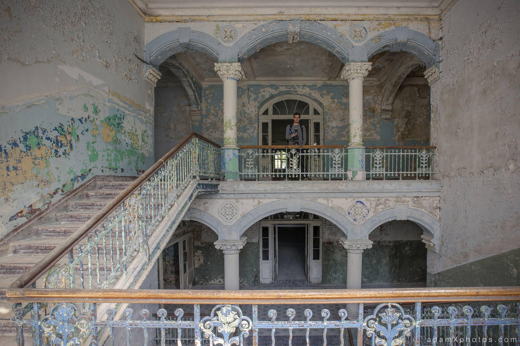 Adam X Urbex Beelitz Heilstatten Germany Urban Exploration Mens Men's Sanatorium Hospital Decay Lost Abandoned Hidden Entrance stairs staircase James Kerwin Photographic portrait