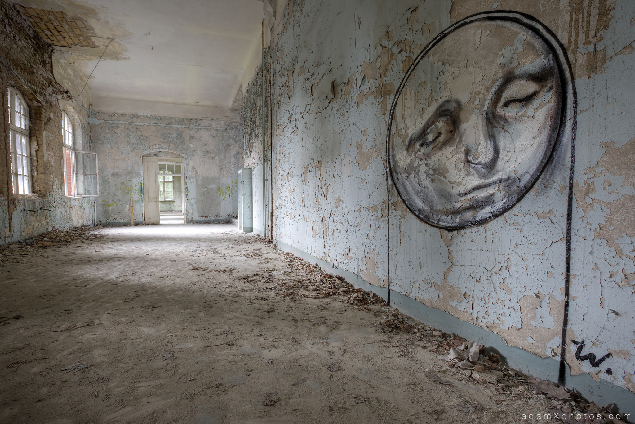 Adam X Urbex Beelitz Heilstatten Germany Urban Exploration Mens Men's Sanatorium Hospital Decay Lost Abandoned Hidden art mural graffiti moon face peeling paint