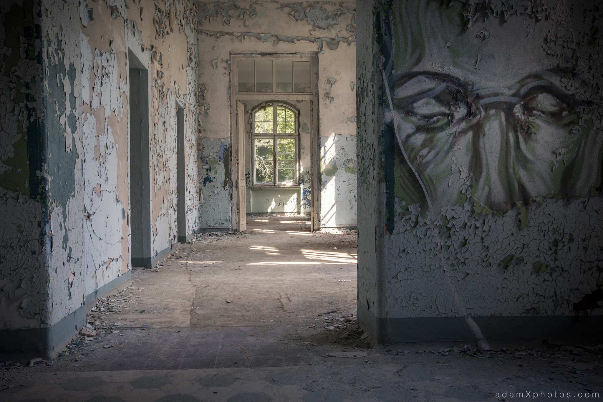 Adam X Urbex Beelitz Heilstatten Germany Urban Exploration Mens Men's Sanatorium Hospital Decay Lost Abandoned Hidden Mural face painting