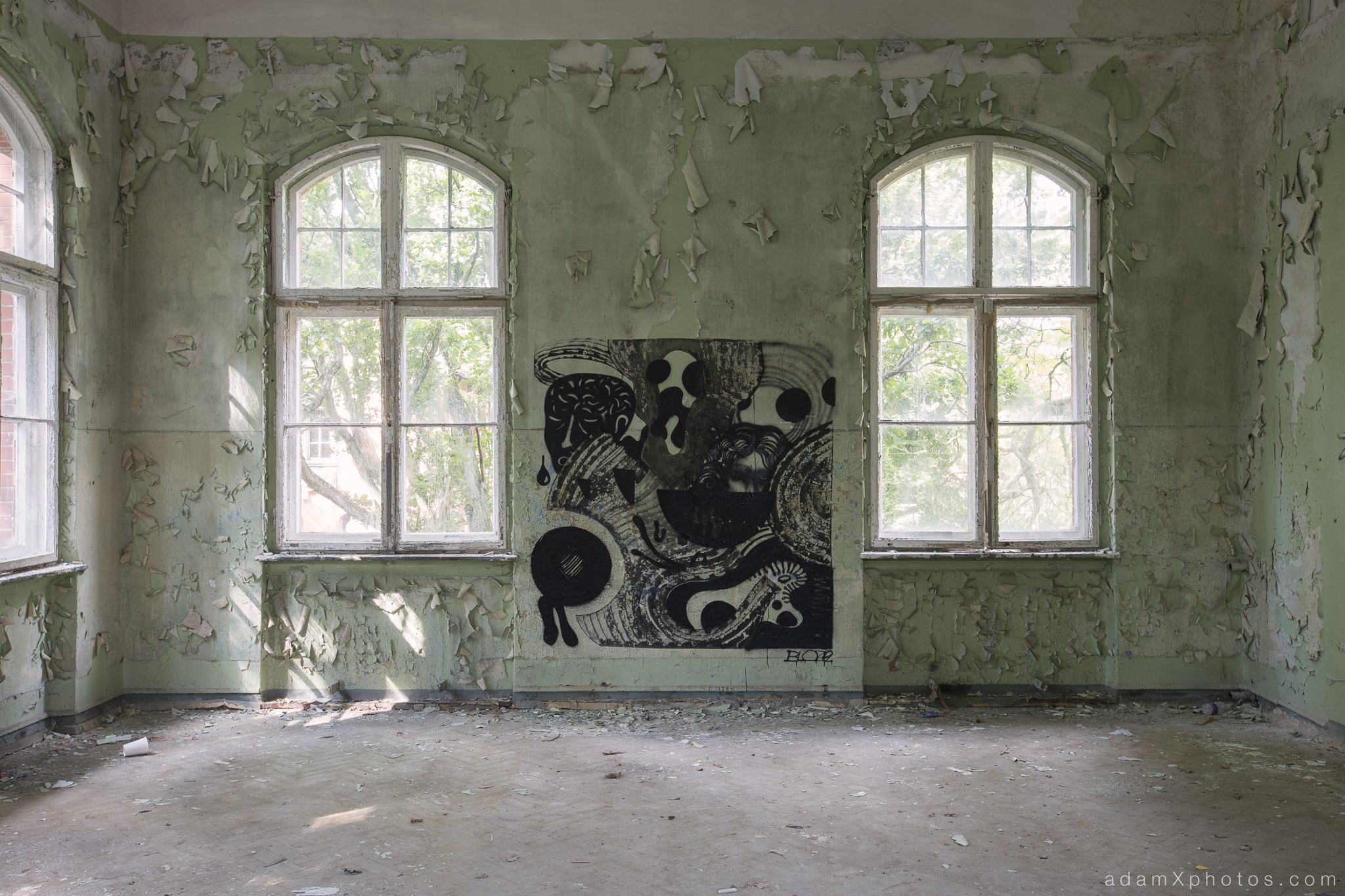 Adam X Urbex Beelitz Heilstatten Germany Urban Exploration Mens Men's Sanatorium Hospital Decay Lost Abandoned Hidden art graffiti painting