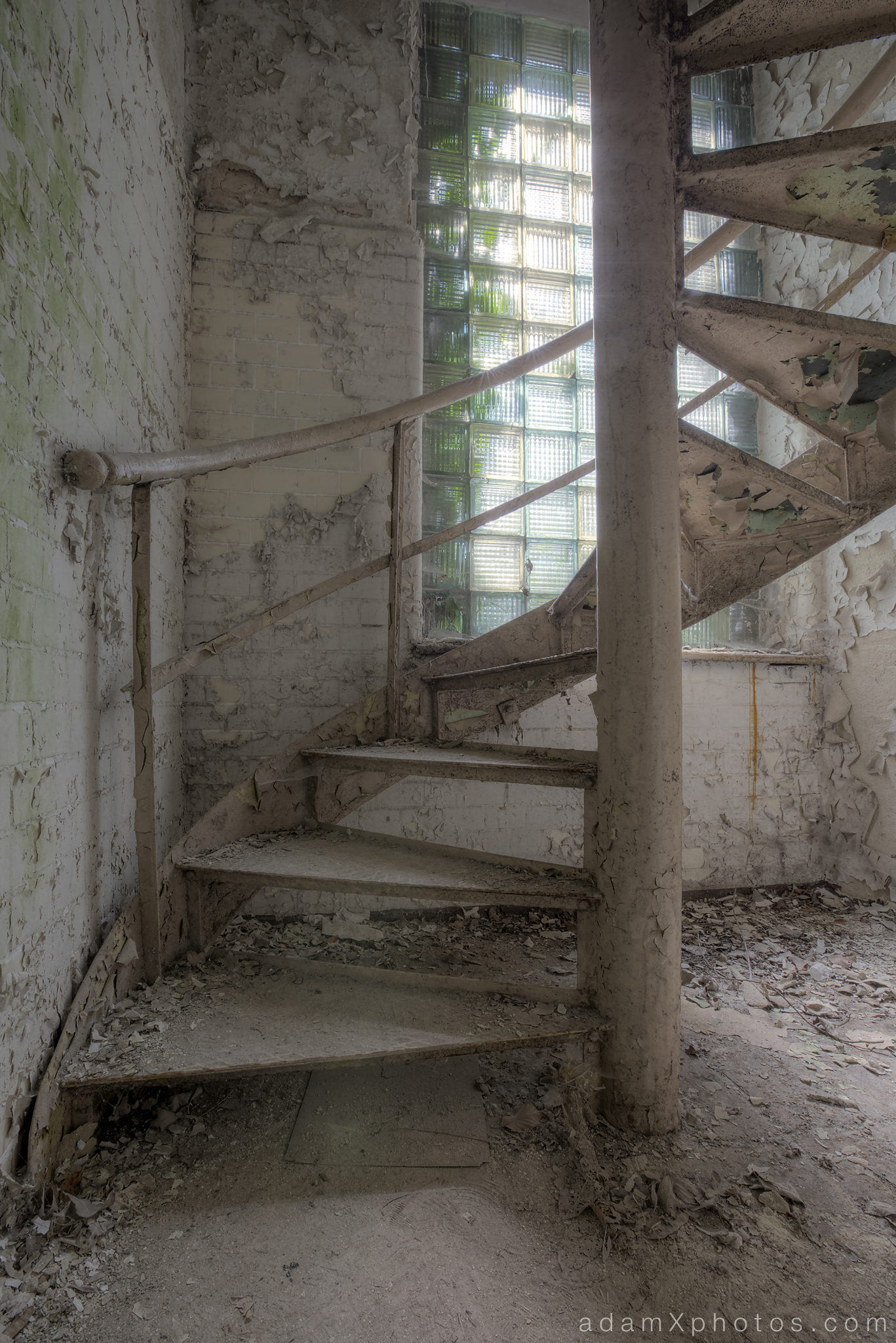 Adam X Urbex Beelitz Heilstatten Germany Urban Exploration Hospital Decay Lost Abandoned Hidden Butcher Bakery laundry spiral stairs staircase