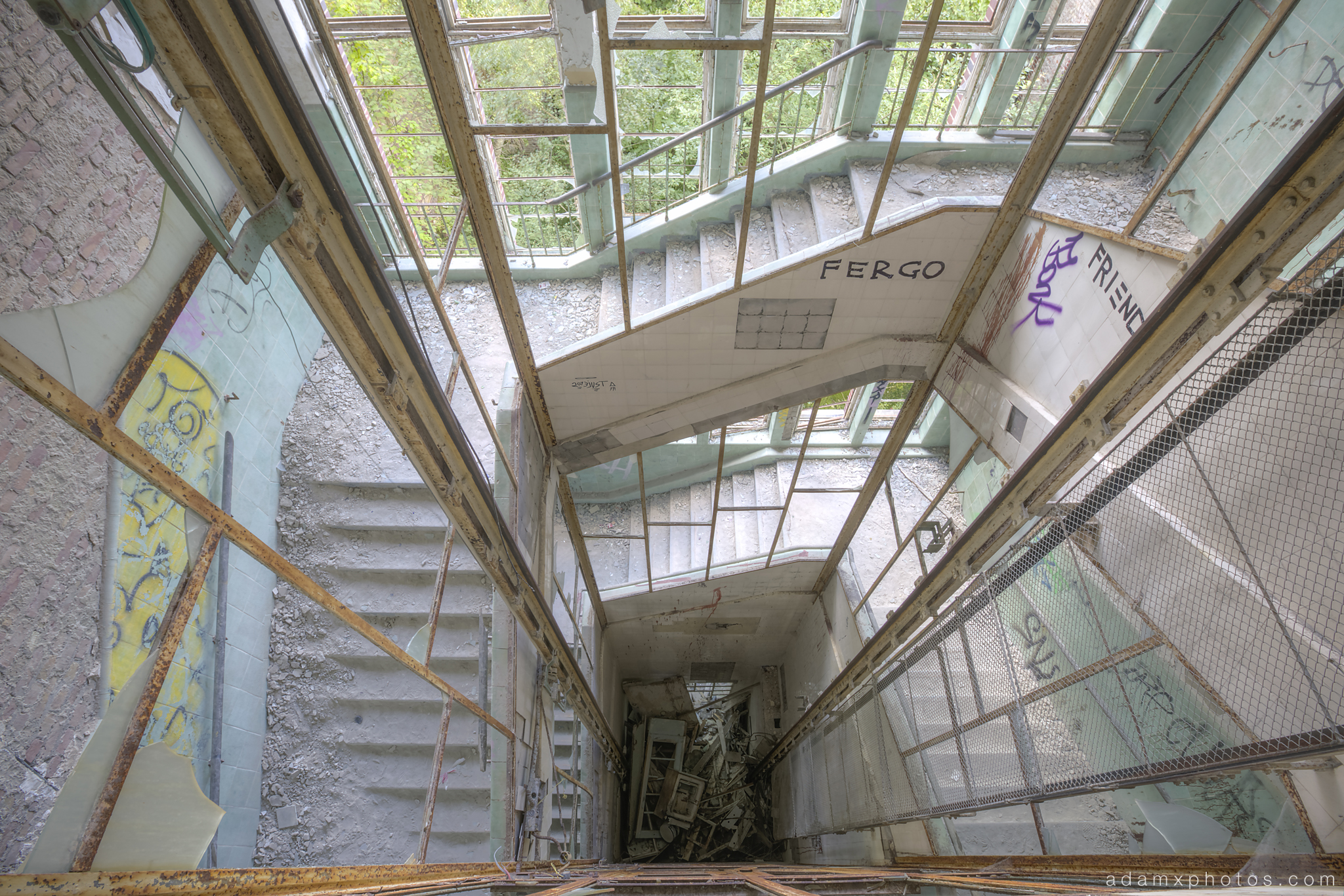 Adam X Urbex Beelitz Heilstatten Germany Urban Exploration Lung clinic Sanatorium Hospital Decay Lost Abandoned Hidden stairs staircase elevator lift looking down