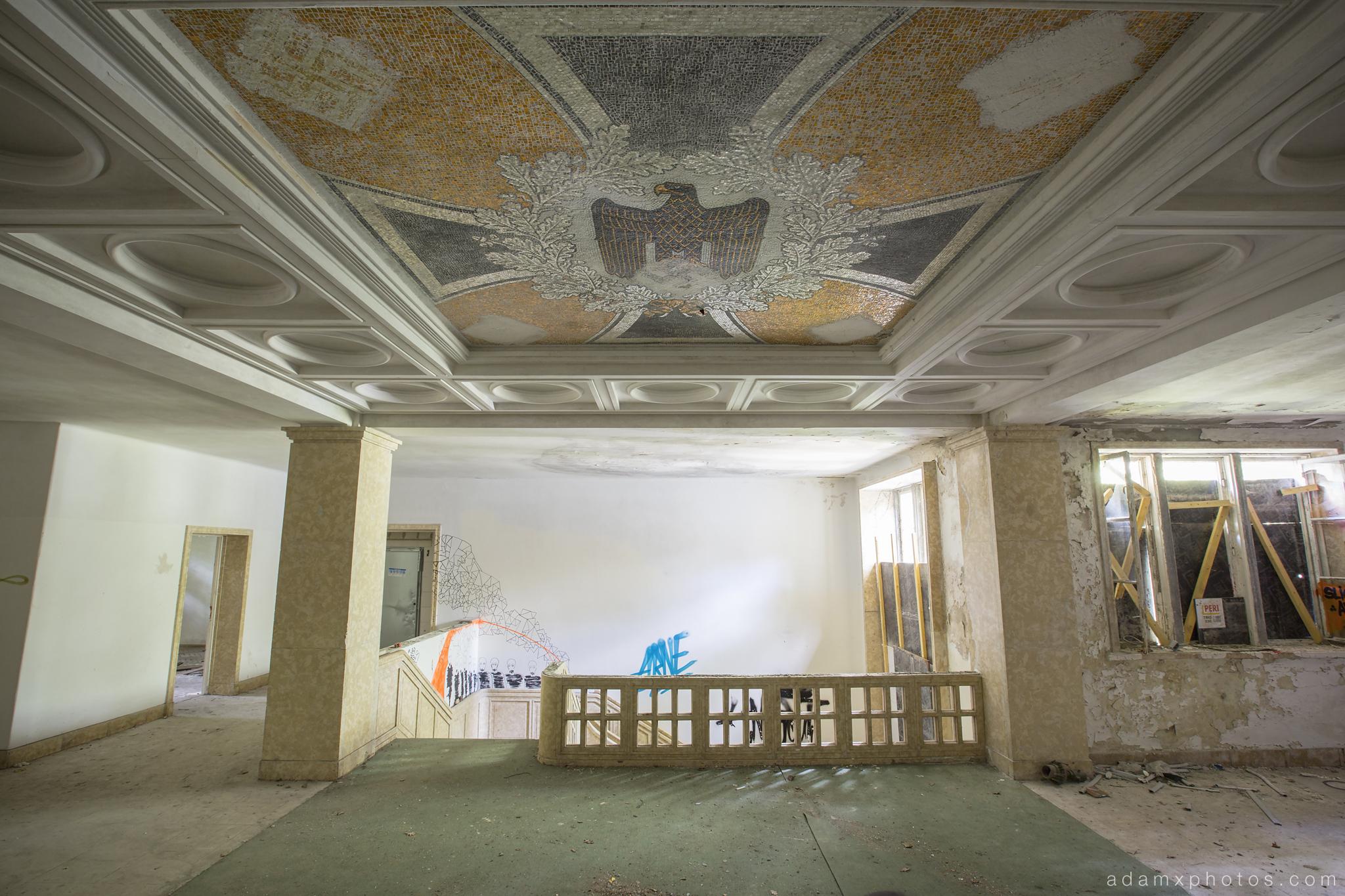 Adam X Urbex Krampnitz Kaserne Germany Urban Exploration Nazi Eagle Swastika Swastikas Ceiling Mosaic Decay Lost Abandoned Hidden tiles detail room