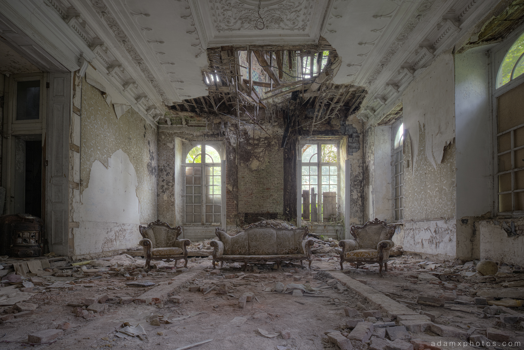 Living Room Money Shot chaise longue ornate chairs grand opulent opulence africa Adam X Urbex UE Urban Exploration Belgium Chateau Congo house maison villa townhouse abandoned derelict unused empty disused decay decayed decaying grimy grime collapsing
