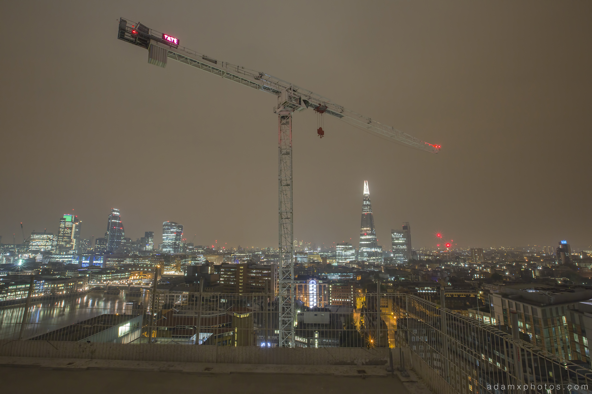 Adam X Urbex UE Urban Exploration London Rooftops High Night Photo Photography Skyline THM crane south bank thames shard walkie talkie st pauls cathedral