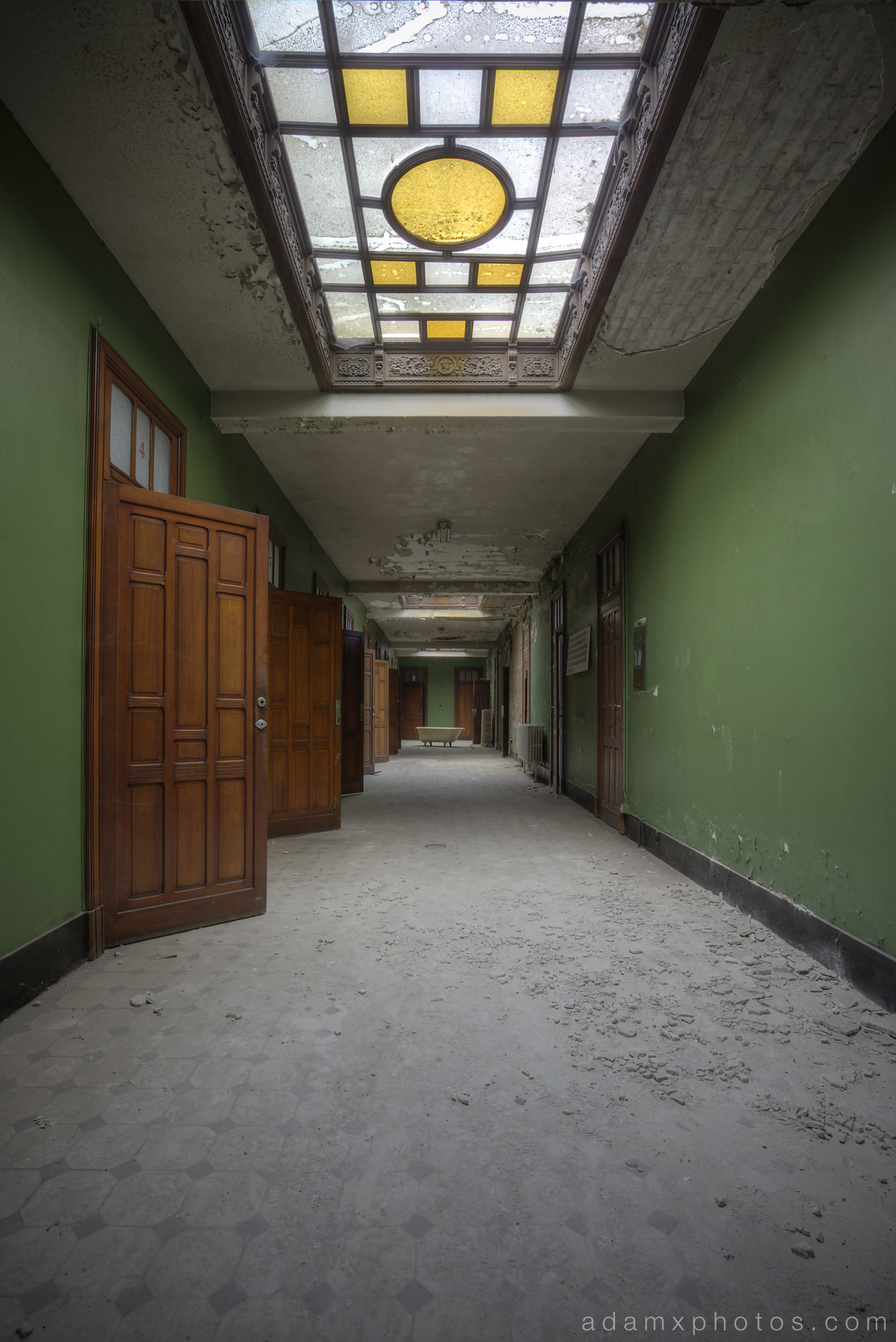 Green Corridor skylight stained glass ornate Adam X Urbex UE Urban Exploration Belgium Piscine Crachoir swimming pool abandoned derelict unused empty disused decay decayed decaying grimy grime