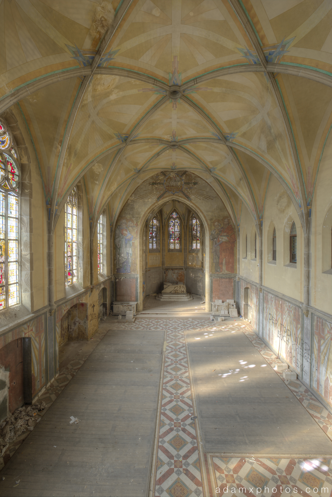 Upstairs balcony view of chapel Adam X Urbex UE Urban Exploration Germany chapel church abandoned derelict unused empty disused decay decayed decaying grimy grime