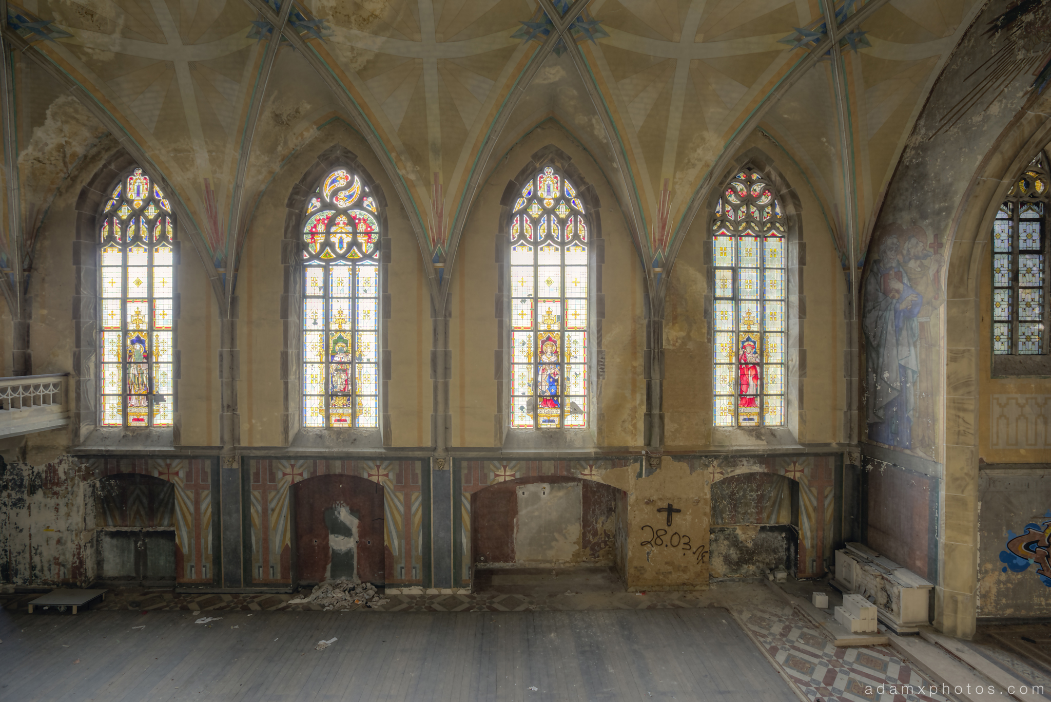 Side view stained glass windows ornate Adam X Urbex UE Urban Exploration Germany chapel church abandoned derelict unused empty disused decay decayed decaying grimy grime