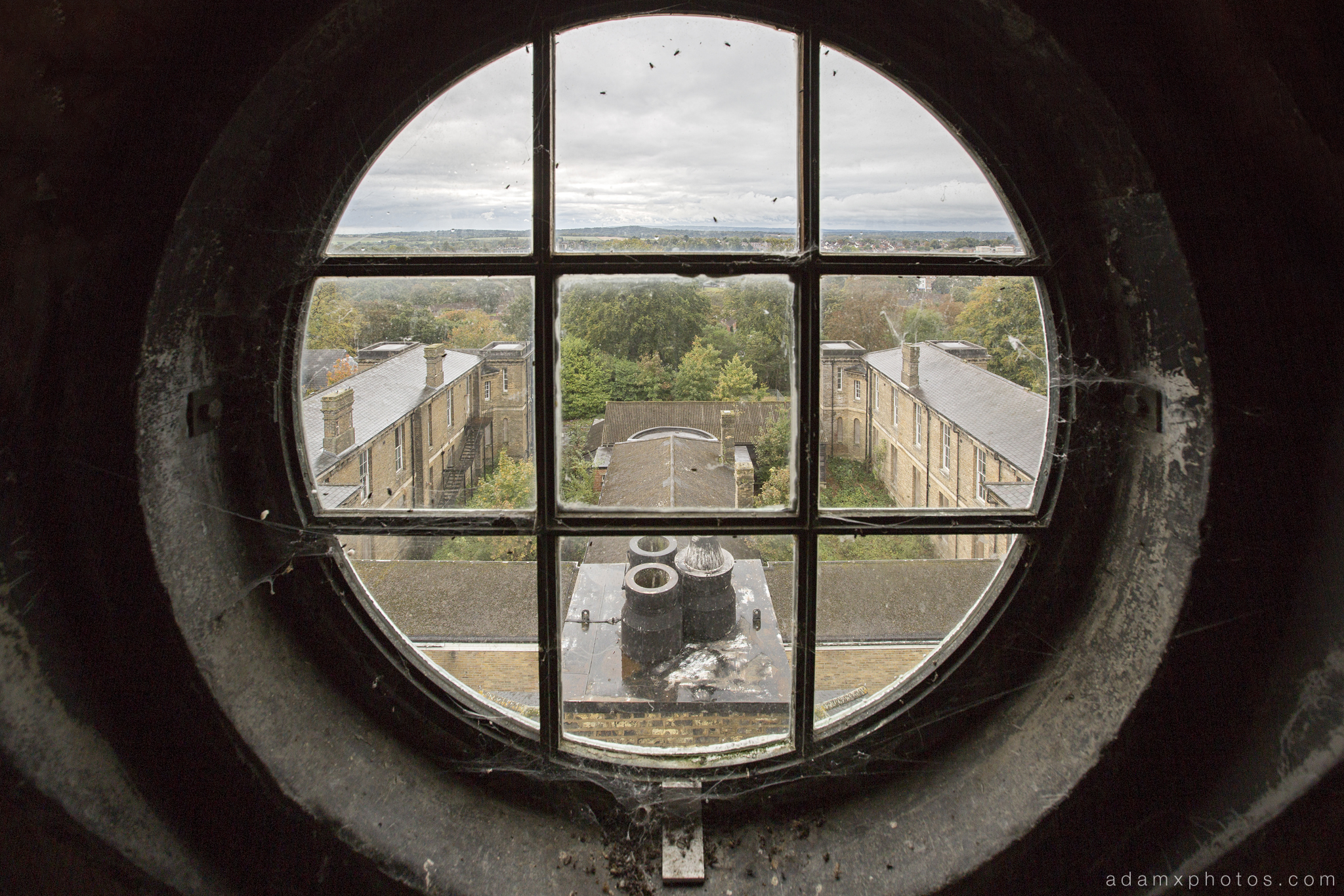 View from the clocktower clock tower round window circular X-ray Labs lab laboratory x ray CMH Cambridge Military Hospital Adam X Urbex UE Urban Exploration abandoned derelict unused empty disused decay decayed decaying grimy grime