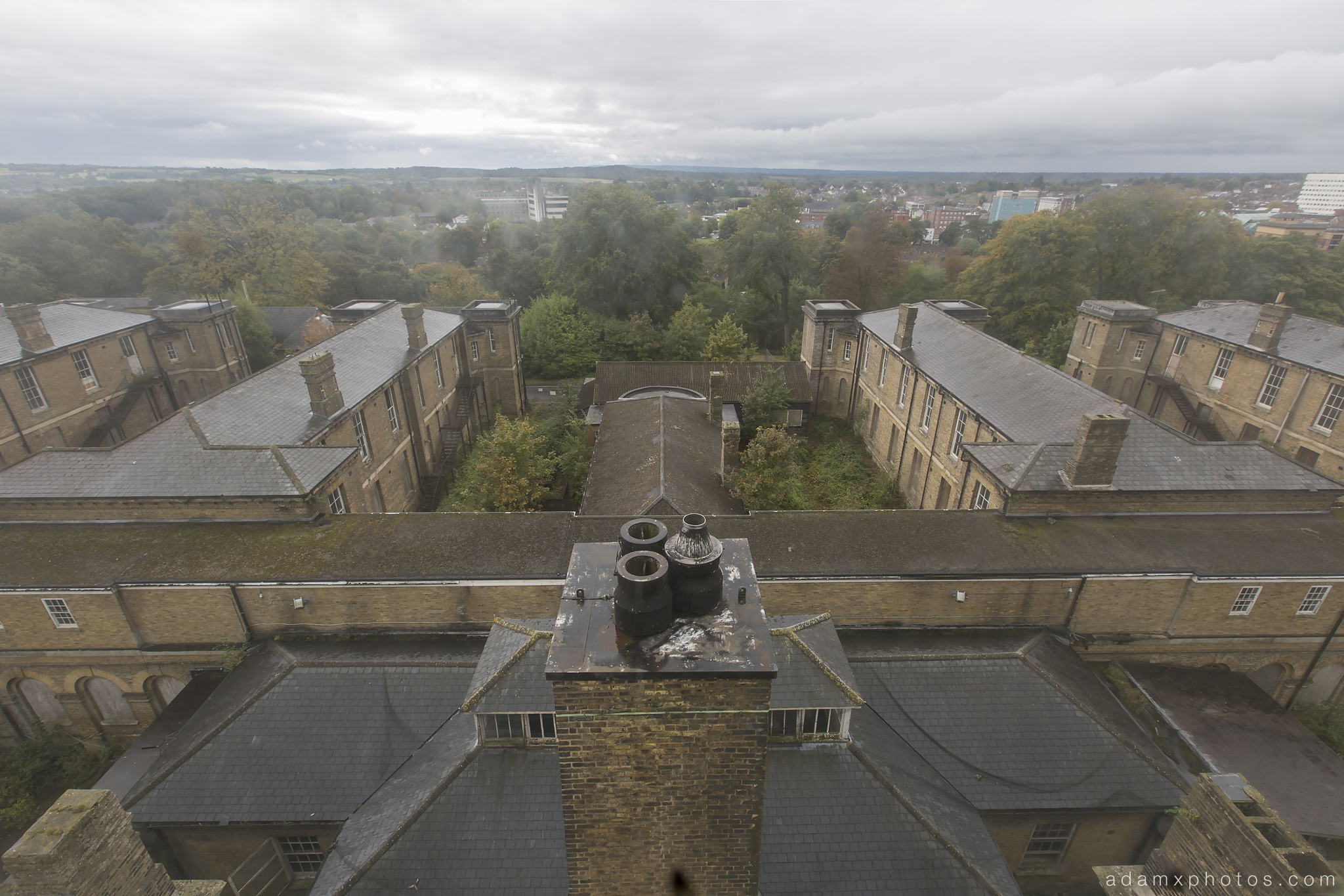 View from the top of the clocktower clock tower panorama X-ray Labs lab laboratory x ray CMH Cambridge Military Hospital Adam X Urbex UE Urban Exploration abandoned derelict unused empty disused decay decayed decaying grimy grime