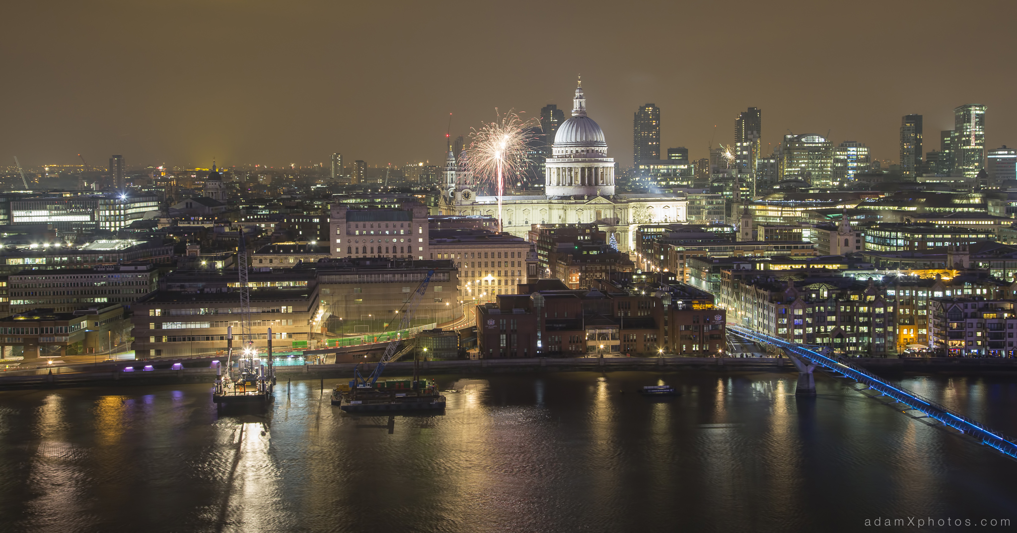 Fireworks St Pauls Paul's cathedral millennium bridge New year's years eve 2014 2015 Adam X Urbex UE Urban Exploration London Rooftops High Night Photo Photography Skyline THM crane south bank thames
