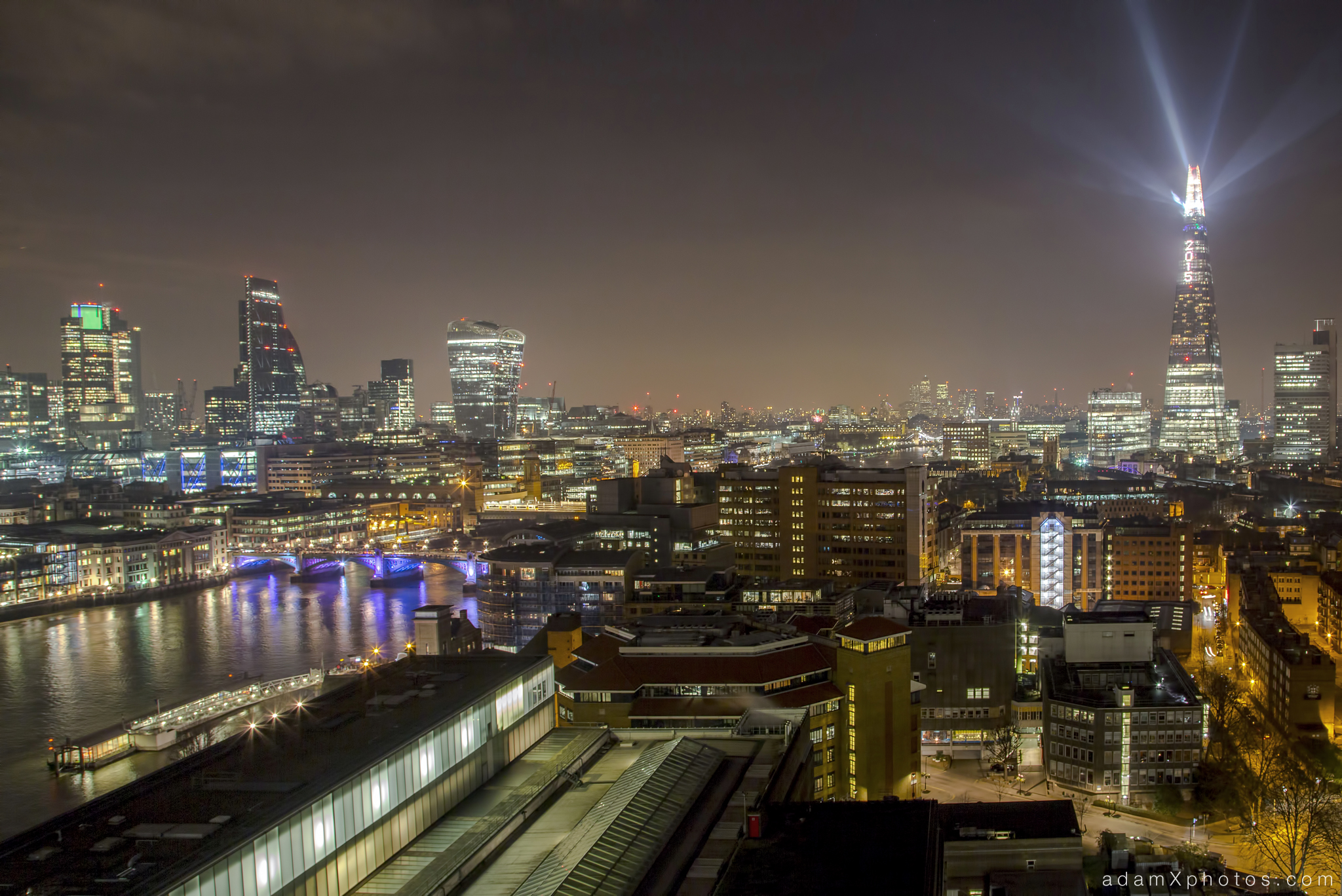 The Shard lights New year's years eve 2014 2015 Adam X Urbex UE Urban Exploration London Rooftops High Night Photo Photography Skyline THM crane south bank thames