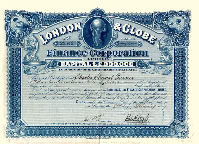 London & Globe Finance share certificate