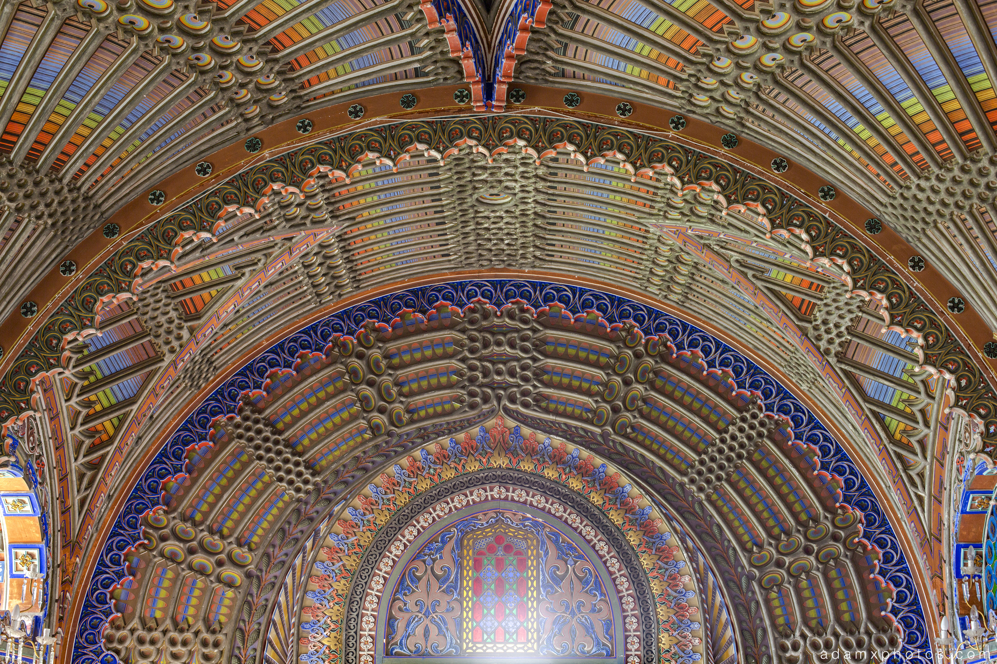 Peacock Room detail ceiling tiles colours Non Plus Ultra Fairytale Castle of Sammezzano Castello di Sammezzano Urbex Adam X Urban Exploration photo photos report decay detail UE abandoned Ornate Moorish tiling tiled derelict unused empty disused decay decayed decaying grimy grime