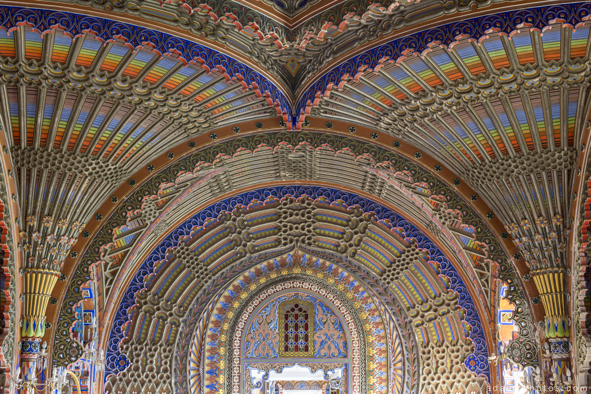Peacock Room detail ceiling fans tiles colours Non Plus Ultra Fairytale Castle of Sammezzano Castello di Sammezzano Urbex Adam X Urban Exploration photo photos report decay detail UE abandoned Ornate Moorish tiling tiled derelict unused empty disused decay decayed decaying grimy grime