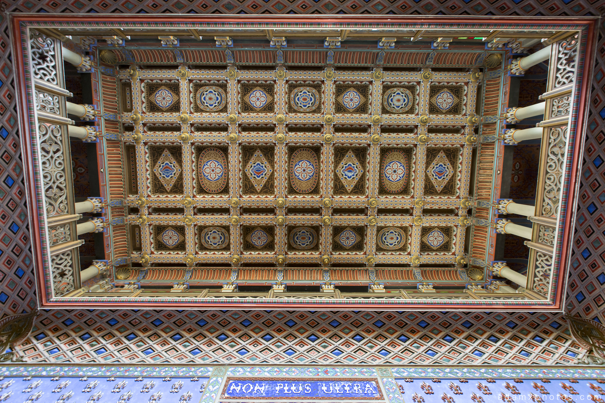 Ceiling Hall of Lilies Sala dei gigli Non Plus Ultra Fairytale Castle of Sammezzano Castello di Sammezzano Urbex Adam X Urban Exploration photo photos report decay detail UE abandoned Ornate Moorish tiling tiled derelict unused empty disused decay decayed decaying grimy grime