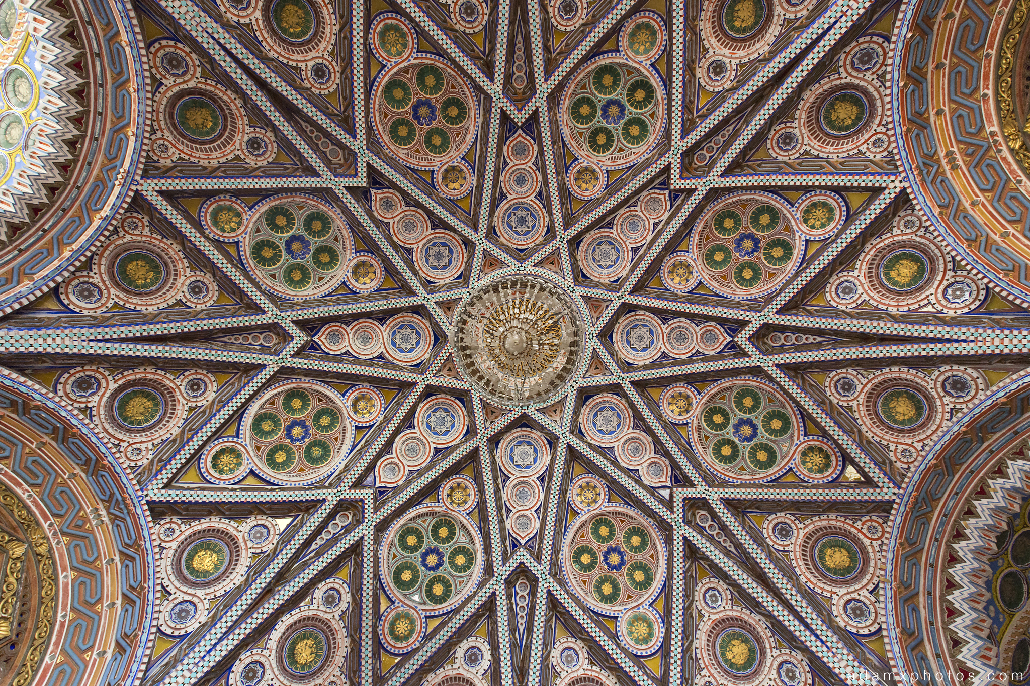 Ornate ceiling detail colours tiles Non Plus Ultra Fairytale Castle of Sammezzano Castello di Sammezzano Urbex Adam X Urban Exploration photo photos report decay detail UE abandoned Ornate Moorish tiling tiled derelict unused empty disused decay decayed decaying grimy grime