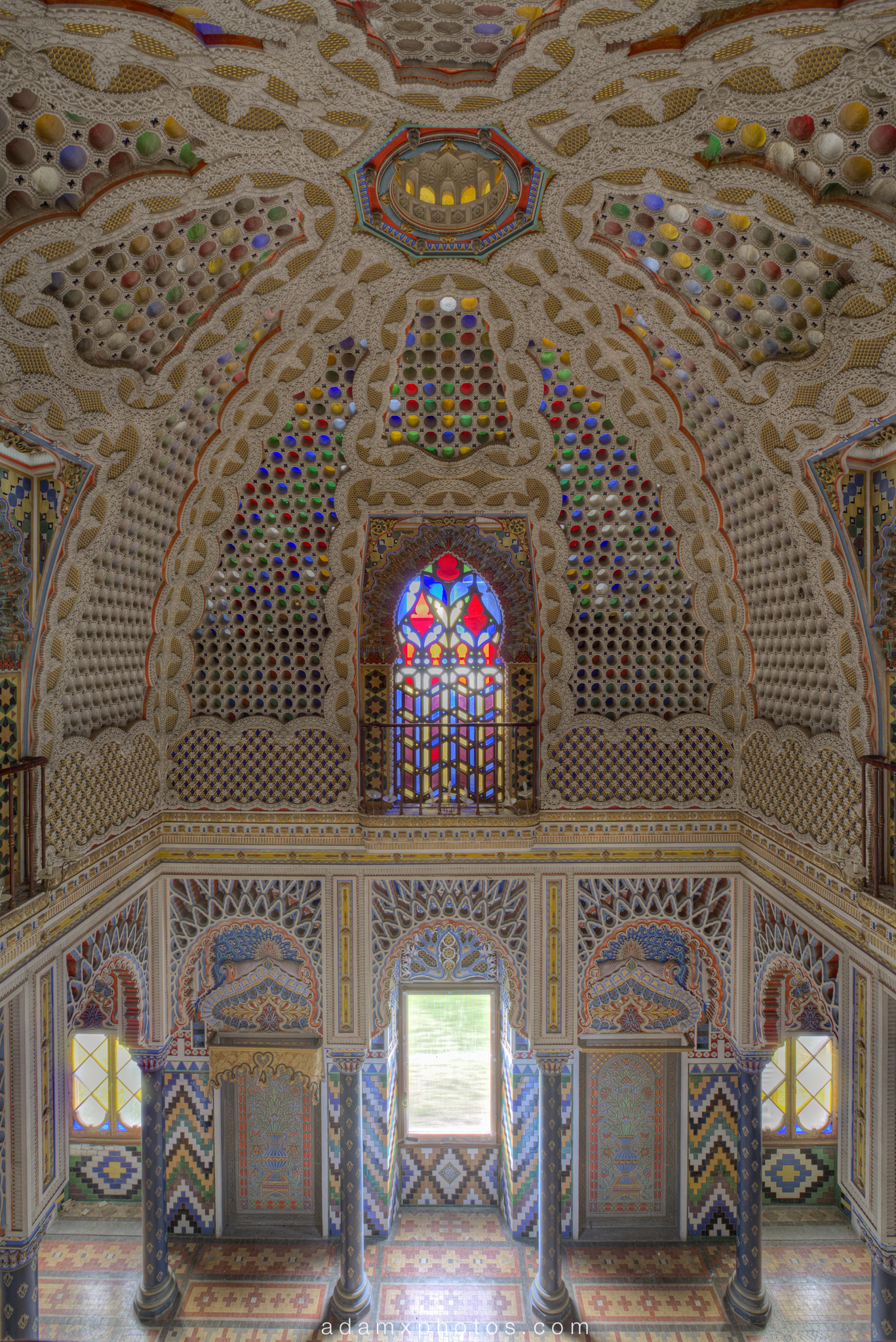 The Hall of Lilies sala dei gigli view from balcony Non Plus Ultra Fairytale Castle of Sammezzano Castello di Sammezzano Urbex Adam X Urban Exploration photo photos report decay detail UE abandoned Ornate Moorish tiling tiled derelict unused empty disused decay decayed decaying grimy grime